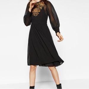 ZARA Black Sheer Embroidered Midi Dress